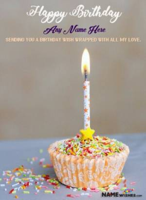 Sparkling Cupcake Birthday Wish for Friends or Lovers With Name