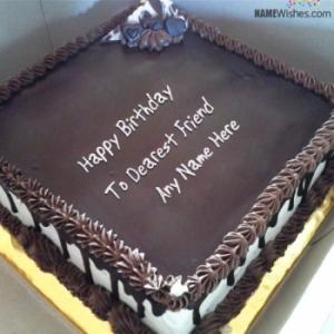Square Chocolate Birthday Cake With Name