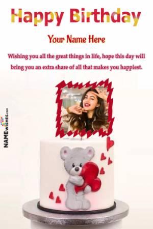 Teddy Bear Love Happy Birthday Cake For GirlFriend or Wife