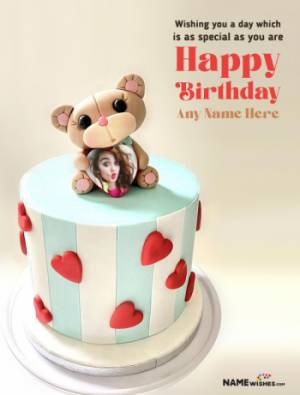 Teddy Birthday Cake With Name and Photo For Special People