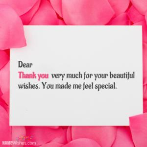 Thank You For Wishes With Name