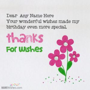 Thanks For Birthday Wishes Card With Name