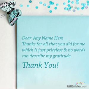 Thankyou Card Digital Message With Name Edit Free Online