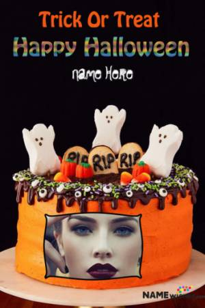Trick Or Treat Happy Halloween Cake With Name and Photo