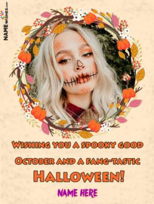Trick Or Treat Happy Halloween Greetings With Name and Pic