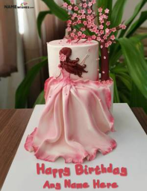 Unique Girly Birthday Cake With Name For Wife or Sister