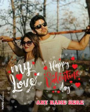 Valentine Day Photo Frame With wish and Name Edit Online