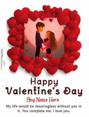 Valentines Day Wish Message With Name and Photo Status