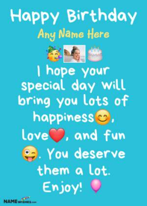 Whatsapp Status Birthday Wishes With Name and Photo For Friends