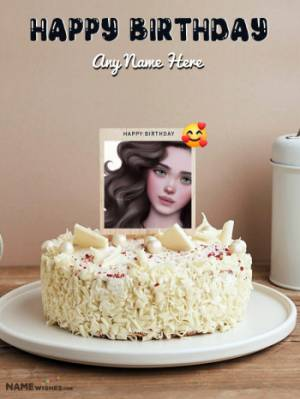 White Chocolate Birthday Cake - Edit With Name and Photo