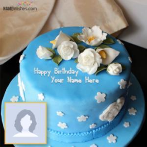 White Roses Blue Birthday Cake With Name