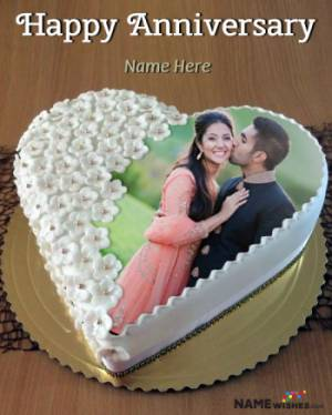 White Rosette Heart Anniversary Cake With Name and Photo