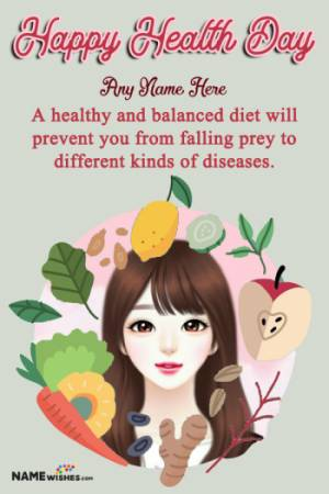 World Health Day Wishes Fruits Photo Frame With Name Edit