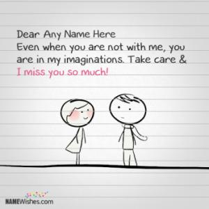 Write Any Name on Miss You Paper Note