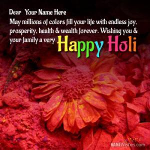 Write Anyones Name on Happy Holi Wishes
