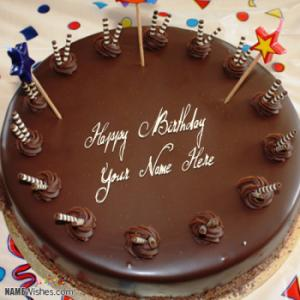 Write Name On Chocolate Birthday Cake