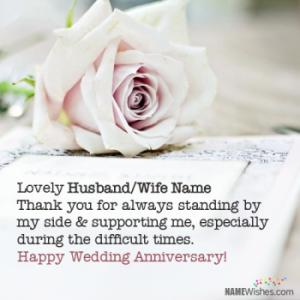 Write Name on Happy Anniversary Wishes