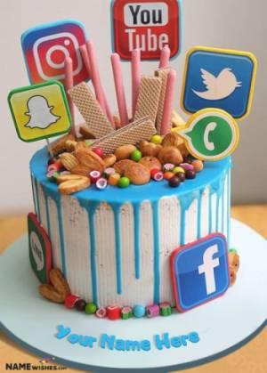 Write Name on Social Birthday Cake For Nerds