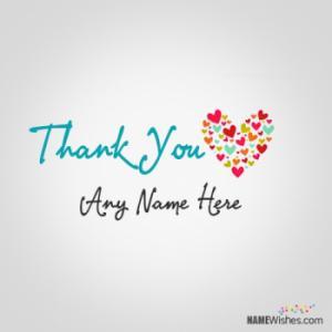 Write Name on Thank You Heart Image