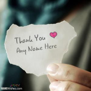 Write Name on Thank You Paper Cute Image