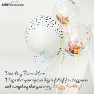 Write Your Name On Birthday Wishes With Balloons