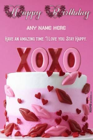 XOXO Design Birthday Cake With Name For Lovers - Kiss Cake