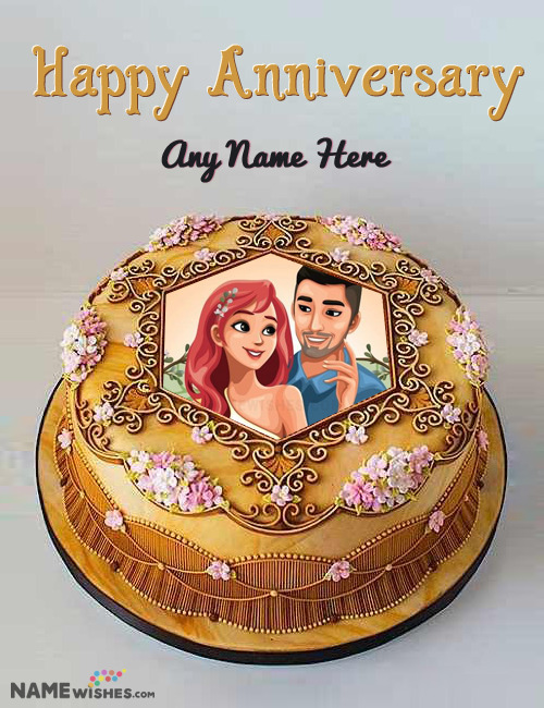 Anniversary Cake With Name and Photo in Royal Golden