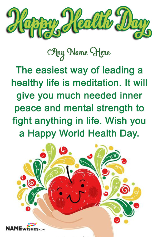 Apple Health Day Wish With Name For Friends and Relatives