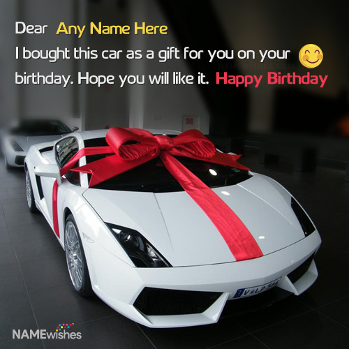 Awesome Virtual Car Birthday Gift With Name Wish