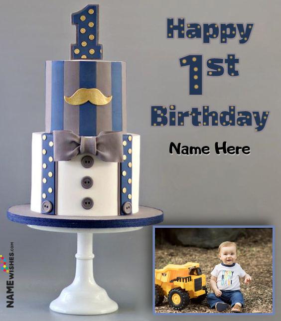 Baby Boy 1st Birthday Themed Vanilla Cake With Name and Photo