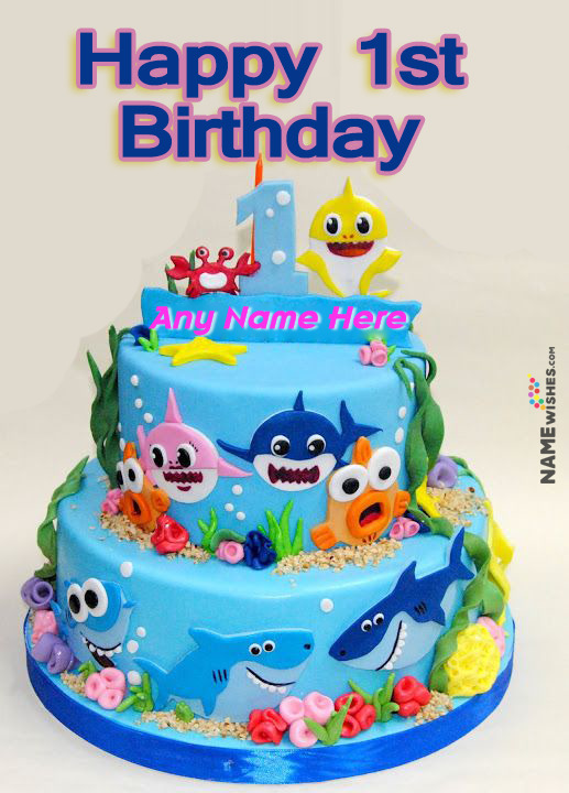 Baby Shark Themed Birthday Cake With Name For 1st Birthday Party For Baby