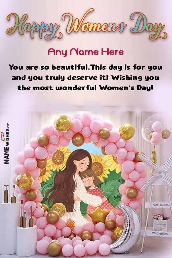 Balloons Back Drop Happy Women's Day Wish With Name and Pic