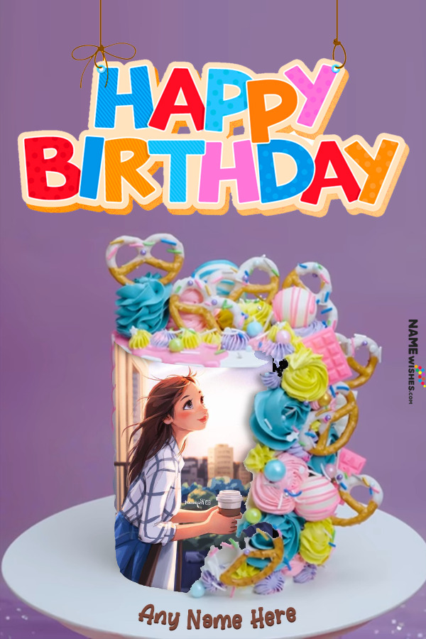 Beautiful Birthday Cake With Name and Photo
