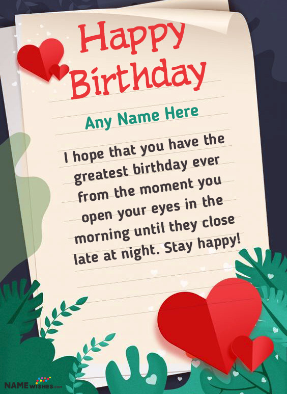 Beautiful Birthday Wish With a Lovely Note and Name For Mother Or Wife