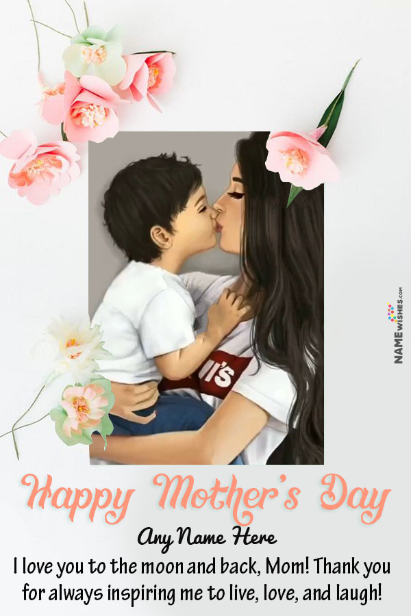 Beautiful Flowers Mothers Day Wish With Name and Photo Frame