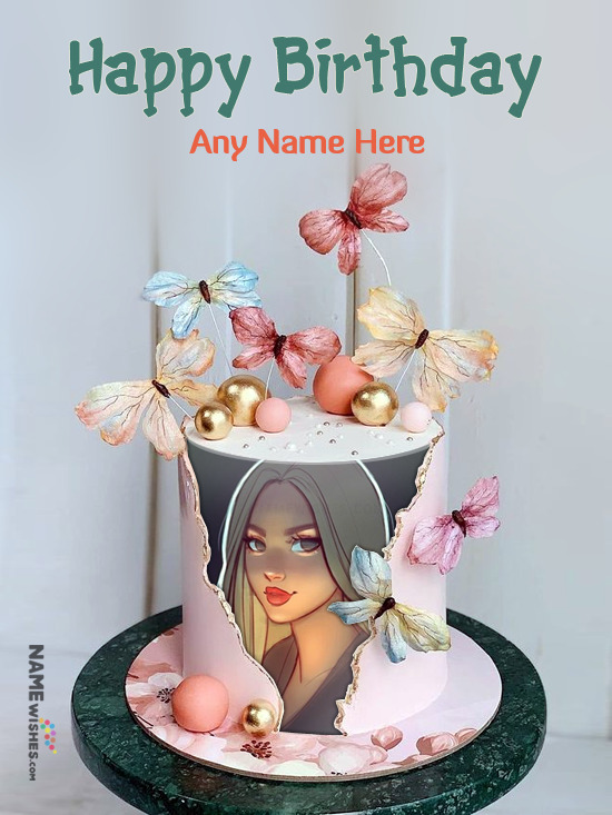 2021 Birthday Cake With Name and Photo Frame Edit