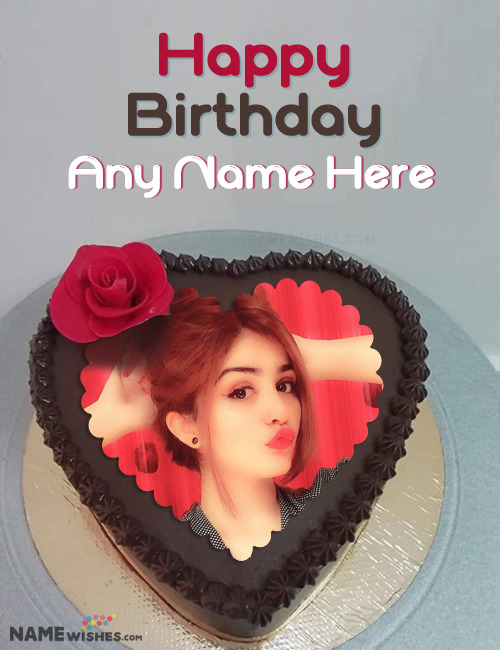 Birthday Cake With Name and Photo - Heart Chocolate Cake