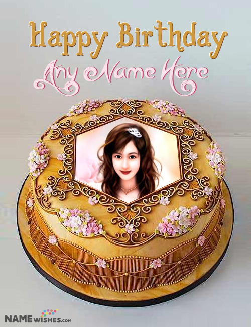 Birthday Cake With Name and Photo in Royal Golden