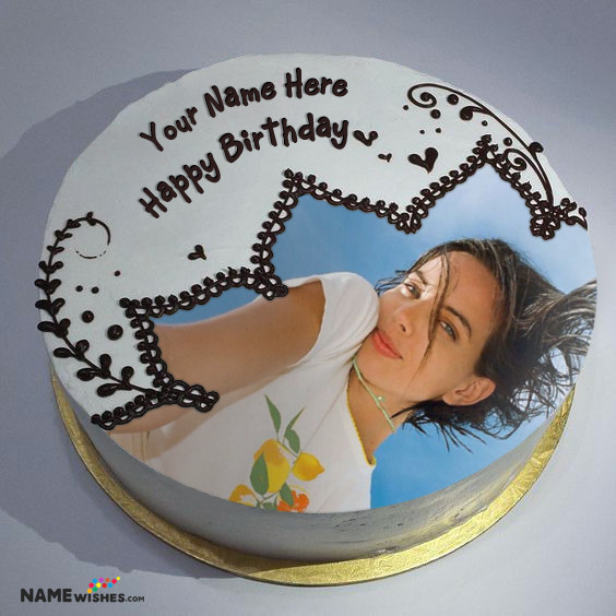 Birthday Cake With Name and Photo - Realistic Cake Editor