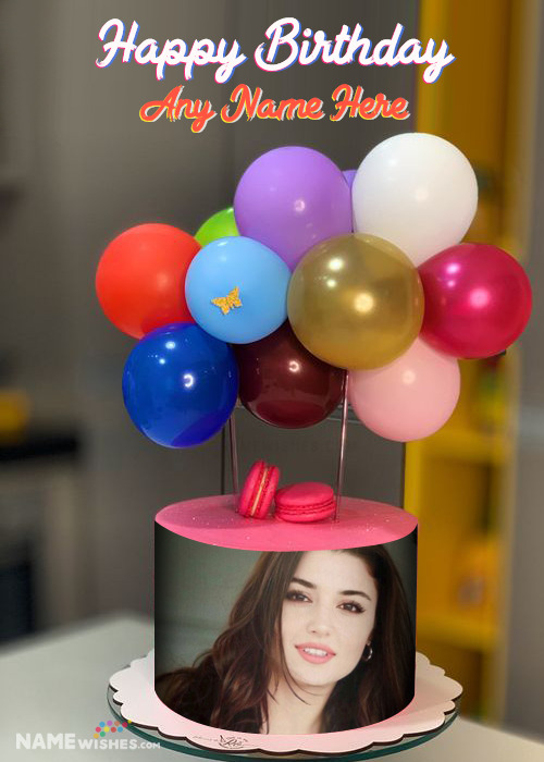 Birthday Cake With Name Photo and Balloons Topper