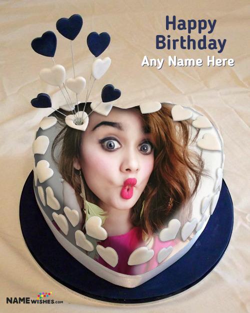 Birthday Cake With Name Photo - Romantic Heart Cake
