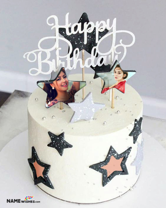 Birthday Cake with Photo - 2 Photos on Cake in Stars