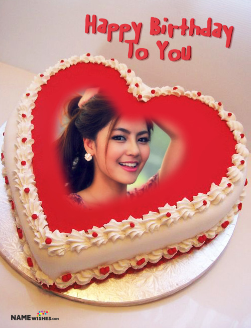 Birthday Cake with Photo - Red Heart Customized Cake