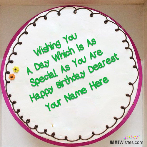 Birthday Cake With Wish and Name