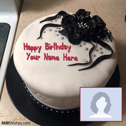 Black Ice Cream Birthday Cake With Name