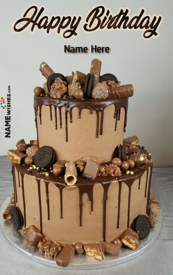 Caramel Chocolate Oreo Walnuts Birthday cake With Name For Husband