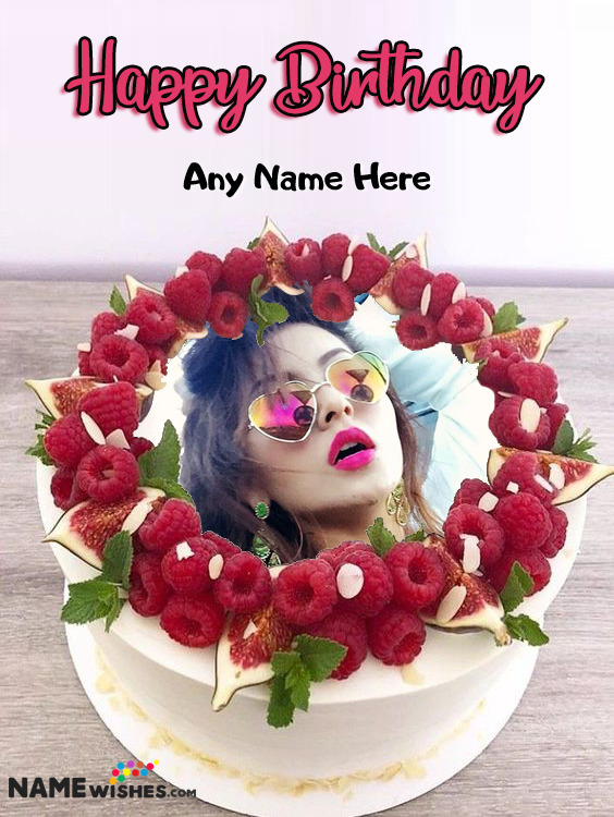 Cherries Round Birthday Cake With Name and Photo For Friends