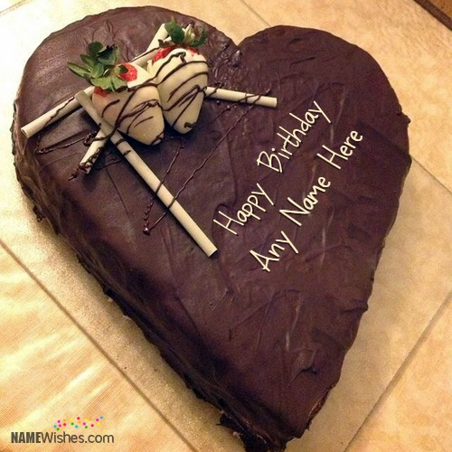 Chocolate Heart Birthday Cake With Name