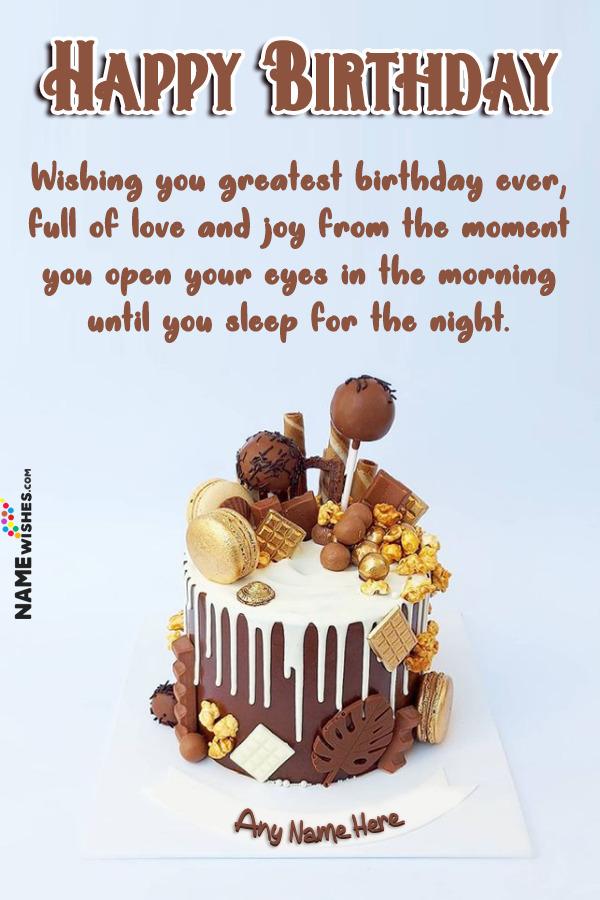 Chocolate Macarons Birthday Cake With Name Edit Online