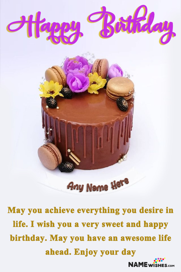 Chocolate Macrons and Flowers Birthday Cake With Name For Friends
